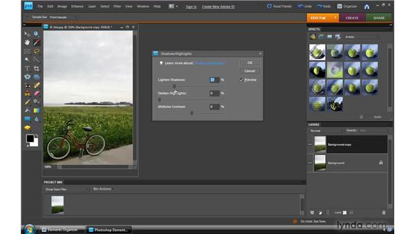 Applying a Shadows/Highlights adjustment: Photoshop Elements 8 for Windows Essential Training