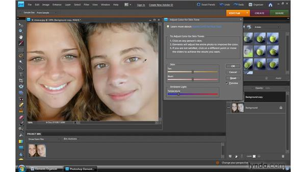 Correcting skin tone: Photoshop Elements 8 for Windows Essential Training