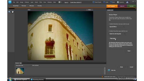 Running automated actions: Photoshop Elements 8 for Windows Essential Training