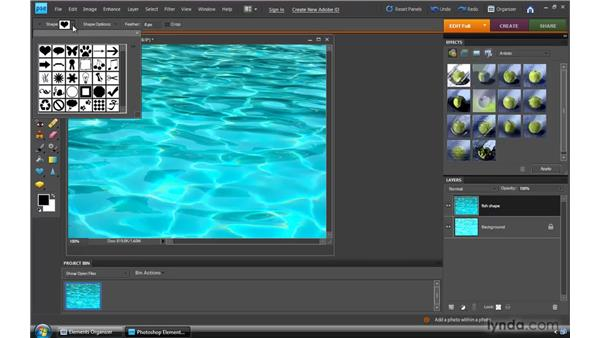 Using the Cookie Cutter tool: Photoshop Elements 8 for Windows Essential Training