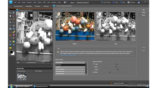 Converting color to black and white: Photoshop Elements 8 for Windows Essential Training