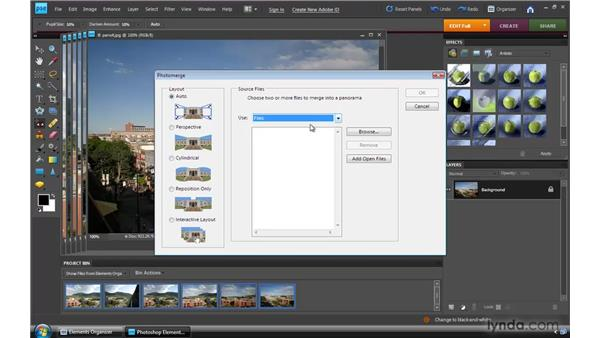 Stitching a photo panorama: Photoshop Elements 8 for Windows Essential Training