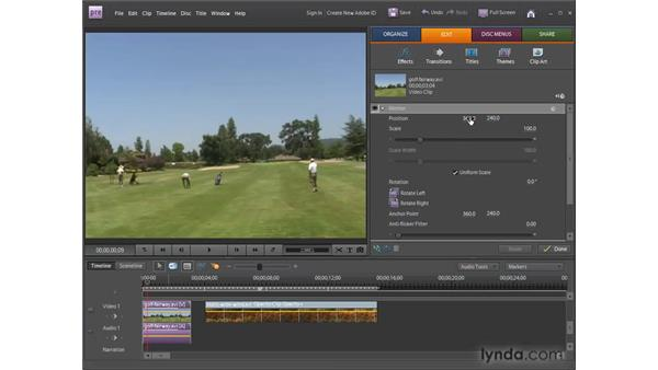 Using the Motion and Image Control fixed effects: Premiere Elements 8 for Windows Essential Training
