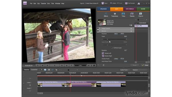Using the Motion effect with keyframes: Premiere Elements 8 for Windows Essential Training