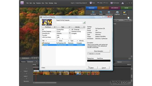 Making music soundtracks with SmartSound: Premiere Elements 8 for Windows Essential Training