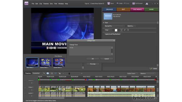 Creating DVD menus using templates: Premiere Elements 8 for Windows Essential Training
