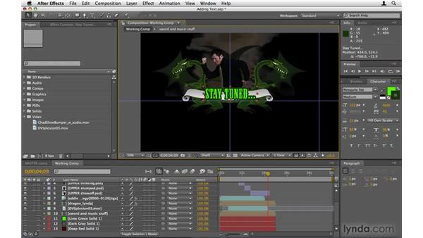 Creating text for the banners: After Effects Project Workflow