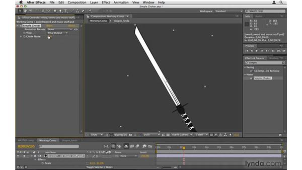 Fixing the sword with Simple Choker: After Effects Project Workflow