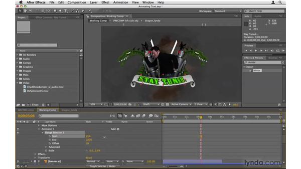 Animating the text on the banner: After Effects Project Workflow