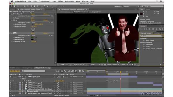 Color-correcting the dragons: After Effects Project Workflow