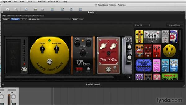Working with pedalboard presets: Logic Pro 9 New Features
