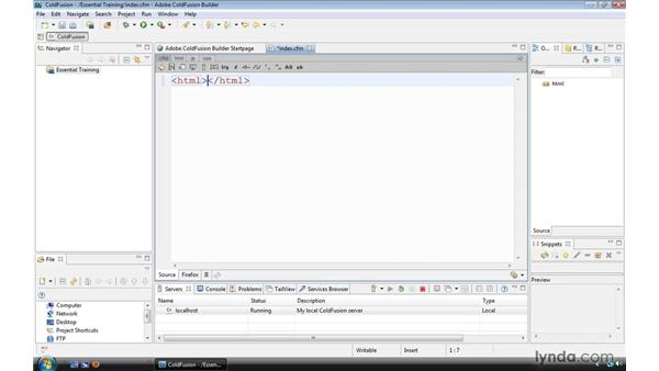 Creating and browsing a ColdFusion page: ColdFusion 9 Essential Training
