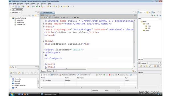 Setting and outputting variables: ColdFusion 9 Essential Training