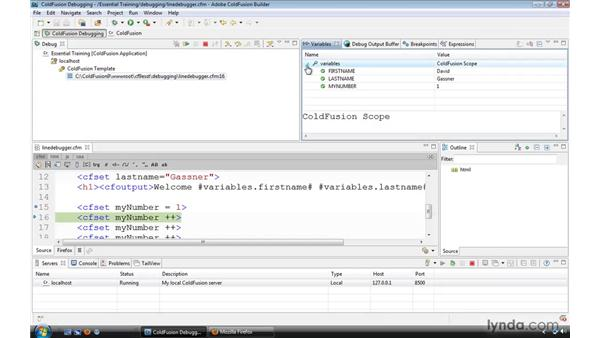 Using the line debugger: ColdFusion 9 Essential Training