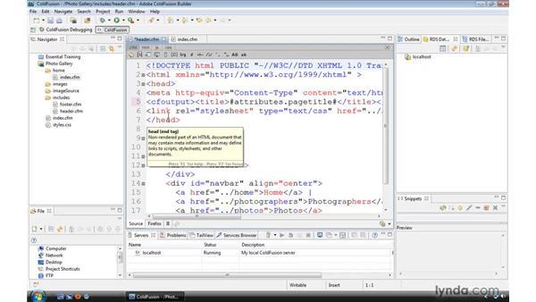 Using a custom tag as a website header: ColdFusion 9 Essential Training
