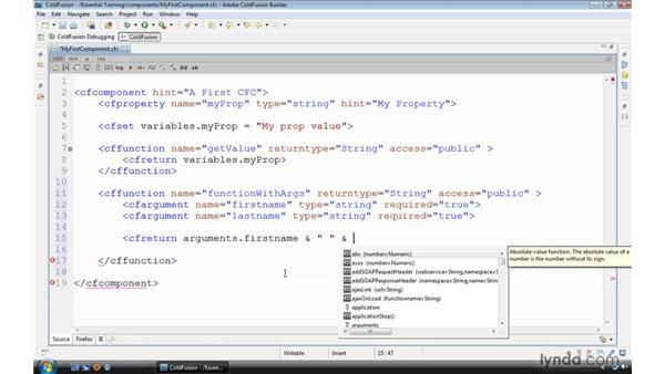 Passing data into functions: ColdFusion 9 Essential Training
