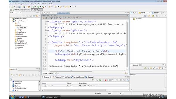 Using an application data source variable: ColdFusion 9 Essential Training