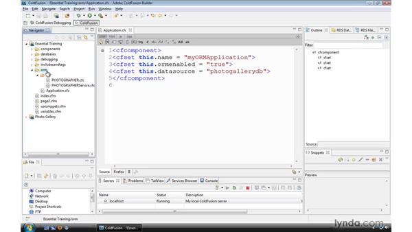 Enabling an application to use ORM: ColdFusion 9 Essential Training