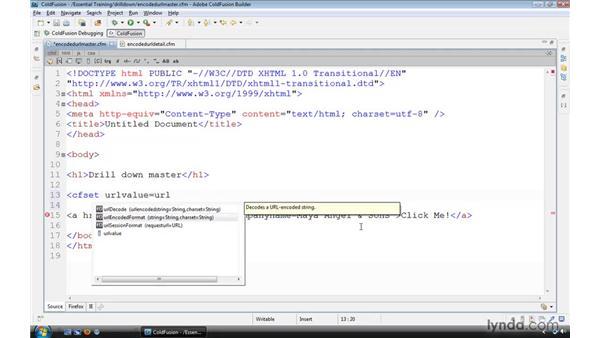 Encoding URLs with URLEncodedFormat(): ColdFusion 9 Essential Training