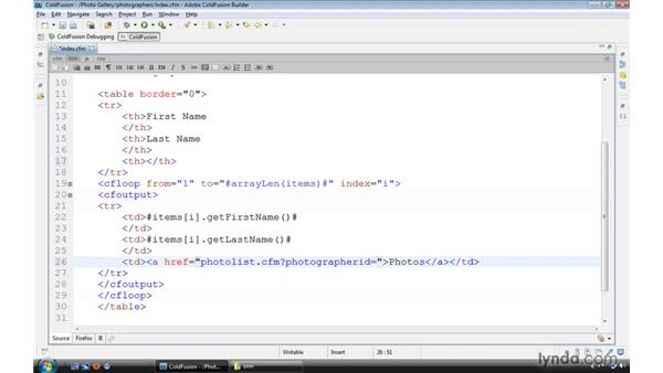 Creating a data-driven hyperlink: ColdFusion 9 Essential Training