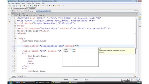 Using HTML data entry forms: ColdFusion 9 Essential Training