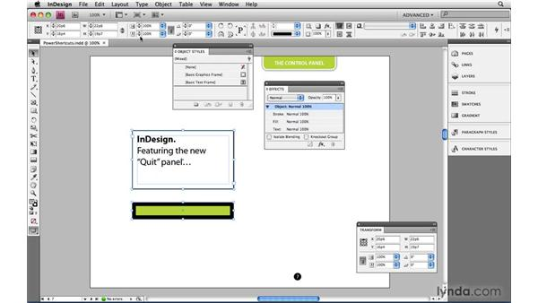 The Control panel: InDesign CS4 Power Shortcuts