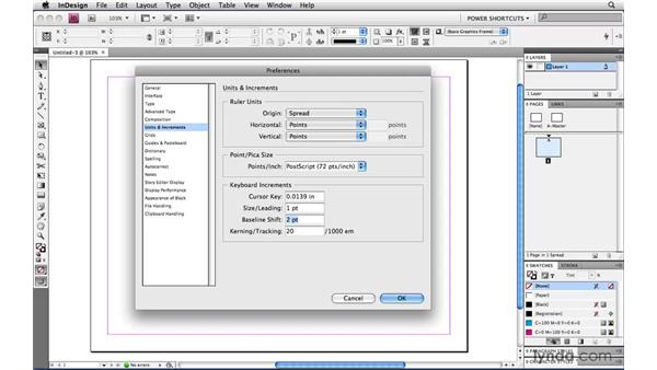 Recommended changes to preferences: InDesign CS4 Power Shortcuts