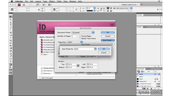 Skipping the new document dialog: InDesign CS4 Power Shortcuts