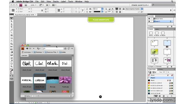 Placing via drag-and-drop from Bridge: InDesign CS4 Power Shortcuts