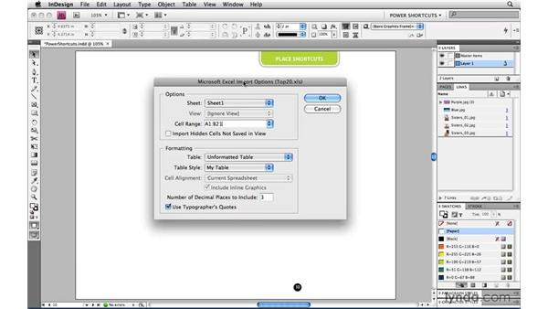 Creating links when placing text and spreadsheet files: InDesign CS4 Power Shortcuts