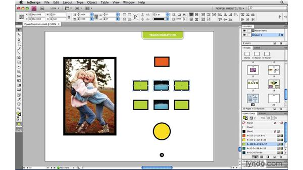 Resizing or scaling multiple objects without grouping: InDesign CS4 Power Shortcuts