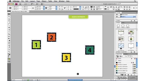 Aligning and distributing to selections margins page or spread: InDesign CS4 Power Shortcuts