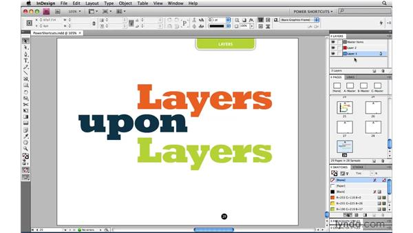 Creating a new layer above or below the active layer: InDesign CS4 Power Shortcuts