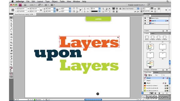 Moving an item between layers: InDesign CS4 Power Shortcuts