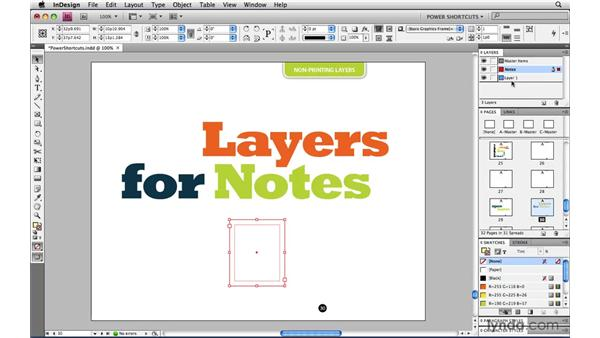Converting a layer to be non-printing: InDesign CS4 Power Shortcuts
