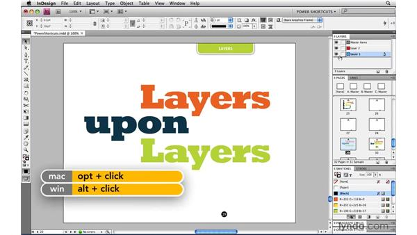Hiding all layers but one: InDesign CS4 Power Shortcuts