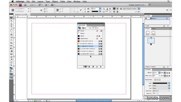 Changing the order of swatches: InDesign CS4 Power Shortcuts