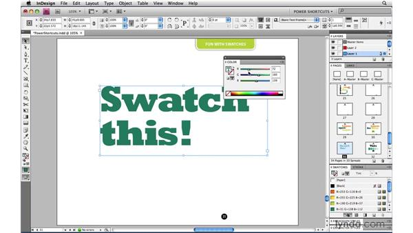 Saturating or desaturating a color: InDesign CS4 Power Shortcuts