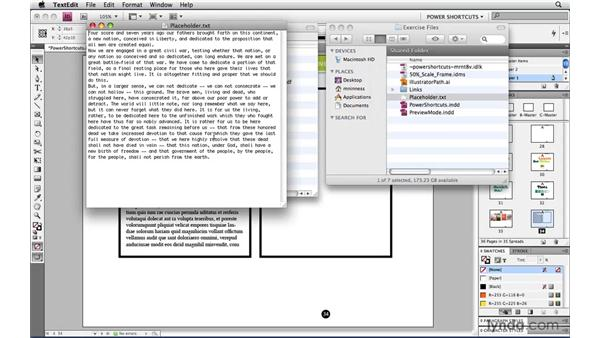 Custom placeholder text: InDesign CS4 Power Shortcuts