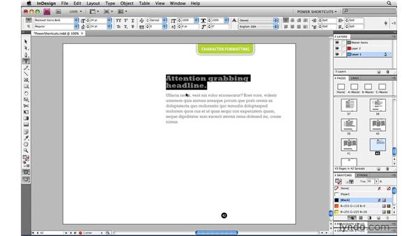 Type Size keyboard shortcuts: InDesign CS4 Power Shortcuts