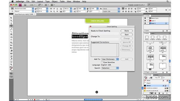 Checking spelling: InDesign CS4 Power Shortcuts