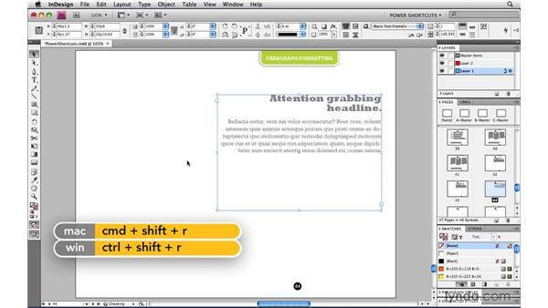 Alignment keyboard shortcuts: InDesign CS4 Power Shortcuts