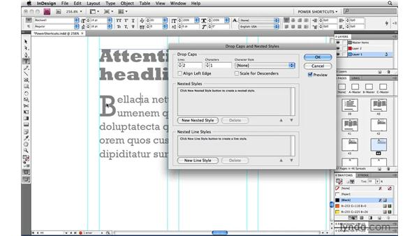 Align Left Edge for drop caps: InDesign CS4 Power Shortcuts