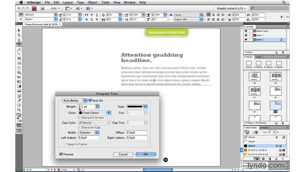 The Paragraph Rules shortcut: InDesign CS4 Power Shortcuts
