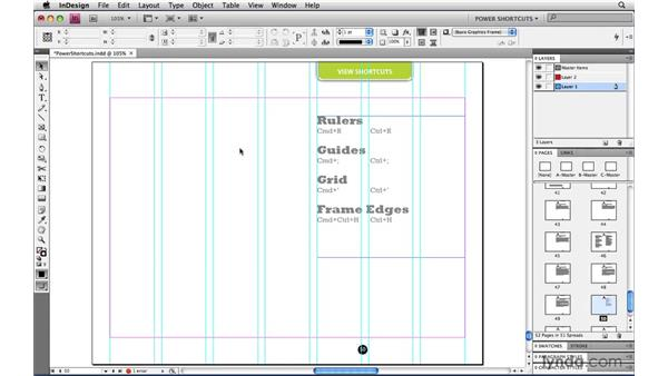 Toggling the rulers guides grid and frame edges: InDesign CS4 Power Shortcuts