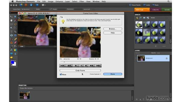 Capturing frames from video: Photoshop Elements 8 for Mac Essential Training