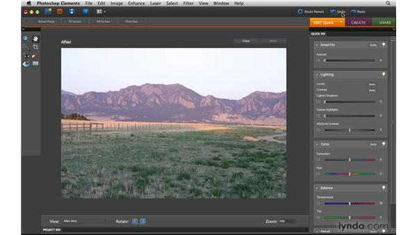 Touring the Quick Fix workspace in the Editor: Photoshop Elements 8 for Mac Essential Training