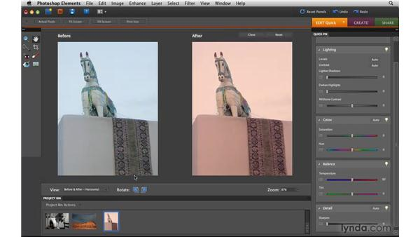 Applying Quick Fix color controls: Photoshop Elements 8 for Mac Essential Training