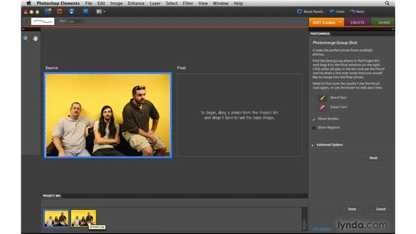 Fixing group shots in Guided Edit : Photoshop Elements 8 for Mac Essential Training