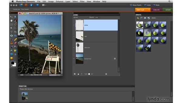 Working in the Layers panel: Photoshop Elements 8 for Mac Essential Training
